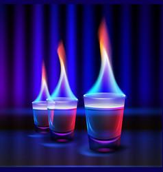 burning alcohol shots vector image