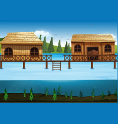 Scene with two houses in the river vector