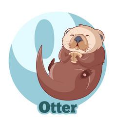 Abc cartoon otter vector