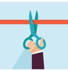 Concept in flat retro style - hand holding scissor vector