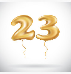 23 birthday celebration with gold balloons and vector