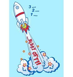 3 2 1 blast off rocket vector