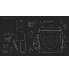 Every day carry man items set2 chalkboard vector