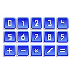 Blue numeric button set vector
