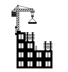 Building construction with crane on white vector