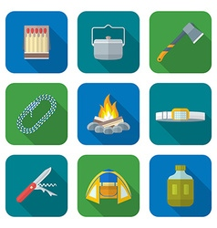 Flat style colored various camping icons vector