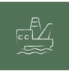Offshore oil platform icon drawn in chalk vector