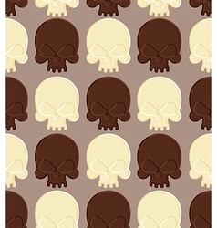 Skull white and dark chocolate seamless pattern vector