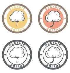 Cotton logo set cotton labels stickers and emblems vector