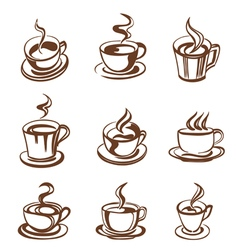 Cups outline vector