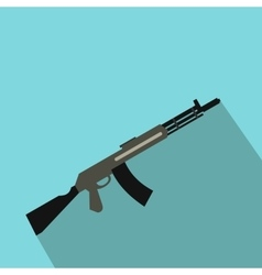 Submachine gun flat icon vector