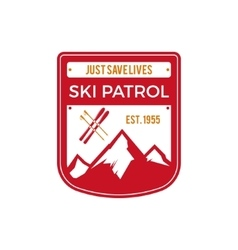 Ski Patrol Label Vintage Mountain winter sports vector image