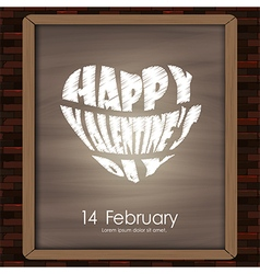 Happy valentine day typhography drawing on chalkbo vector