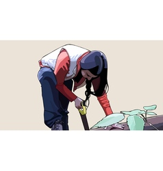 Woman leaned with a tool saw vector