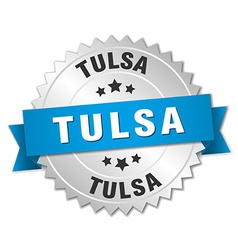 Tulsa round silver badge with blue ribbon vector