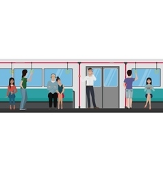 People inside a subway train people metro vector