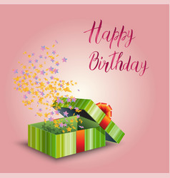 a gift box and inscription happy birthday vector image vector image
