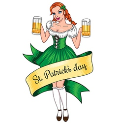 Beer girl lines vector