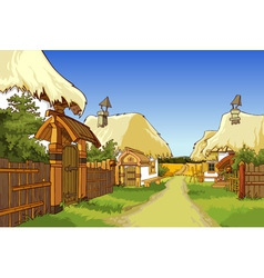 cartoon village street with houses vector image vector image