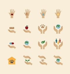 charity and donation icons flat line design vector image vector image
