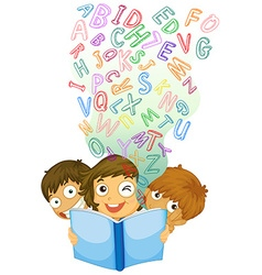 Children reading english book vector image