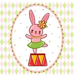 Circus rabbit on a pedestal vector
