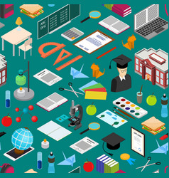 education school background pattern isometric view vector image vector image