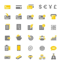 Finance and banking silhouette icon set vector image