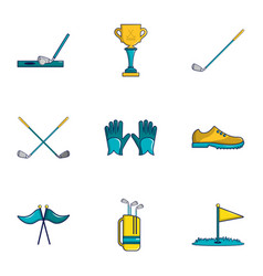 Golf competition icons set cartoon style vector