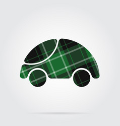 Green black tartan icon - cute rounded car vector