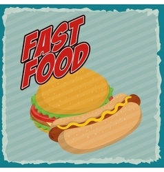 Hamburger and hot dog icon fast food design vector