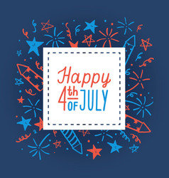 Happy fourth of july card template vector