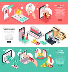 Isometric e-commerce banners set vector