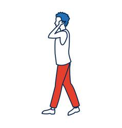 Man walking portrait character side view vector