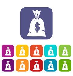 Money bag icons set vector