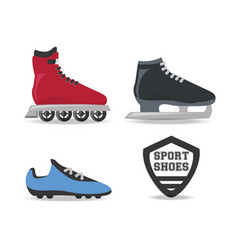 Set ice skating sport game to competition vector