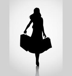 silhouette of a woman figure carrying shopping vector image