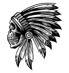 skull indian chief in hand drawing style vector image vector image