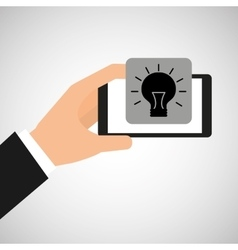smartphone in hand with idea bulb vector image