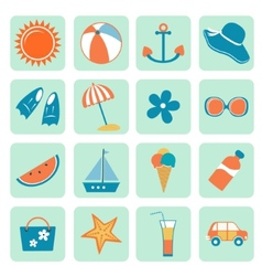Summer icons collection vector image