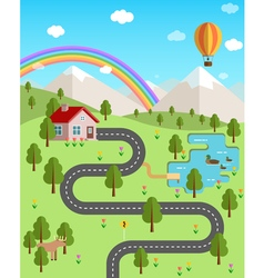 Summer landscape with mountains forest rainbow air vector