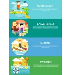 Surfing Swimming Run and Bodybuilding vector image
