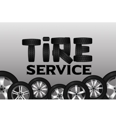 Tire service with wheel seamless border shining vector