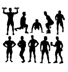 Weightlifting and fitness activity silhouettes vector