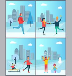 Woman jogging happy couple dancing on skatesset vector