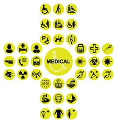 Yellow medical and health care icon collection vector
