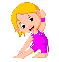 Yoga kids gymnastic for children and healthy life vector