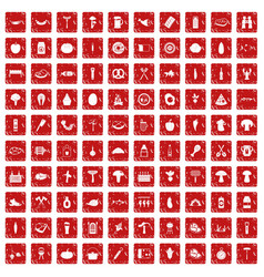 100 barbecue icons set grunge red vector image vector image