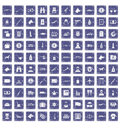 100 smuggling icons set grunge sapphire vector
