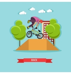 Guy makes a stunt on bmx flat design vector